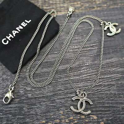 £13.81 • Buy CHANEL Silver Plated CC Logos Charm Chain Necklace Pendant #6834a Rise-on