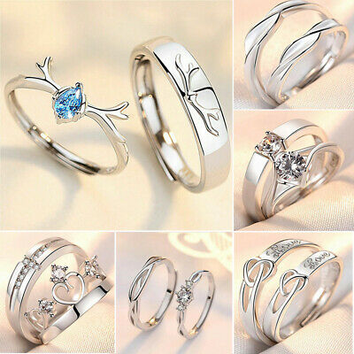 £4.99 • Buy 925 Sterling Silver Couple Rings Promise Matching Wedding Engagement Lover Rings