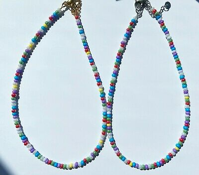 """£4.20 • Buy Necklace Choker Preciosa Mix Summer Colours 4mm Seed Beads 15"""" SB21"""