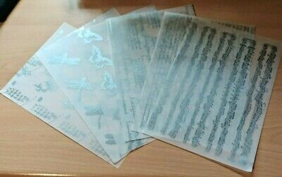 £3.50 • Buy A5 Silver Printed Vellum Papers - Music, Script, Dragonfly, Butterfly - 6 Sheets