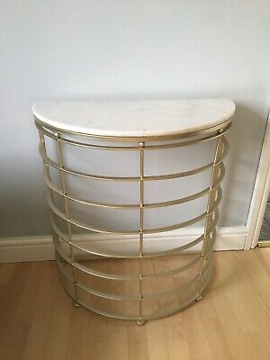 £50 • Buy Marble Stone Top Gold Metal Side /Hallway Table
