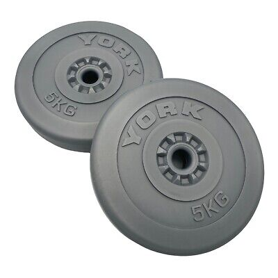 £38.67 • Buy York Barbell 2 X 5kg 1 Inch Vinyl Weight Plates Weightlifting Gym Good Condition