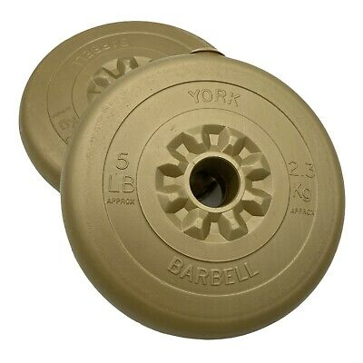 £14.97 • Buy 2x5lb/2.3kg Weight Plates 1 Inch Vinyl York Barbell Dumbbell In Gold