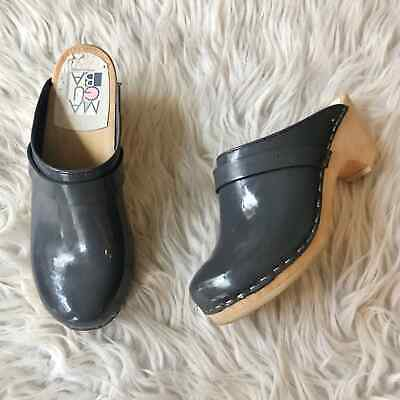$35 • Buy Maguba Sweden Gray Patent Leather Wood Clogs Womens 6