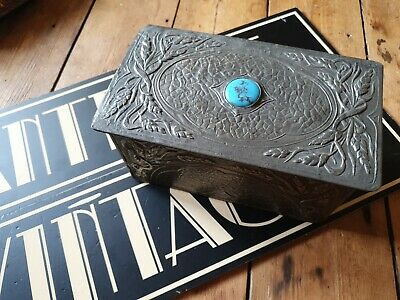 £195 • Buy Original Antique Vintage Arts And Crafts Metal Pewter Box With Blue Cabouchon