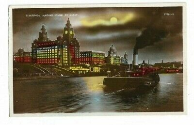 £4 • Buy Liverpool Landing Stage By Night, Hand Tinted RP Postcard.