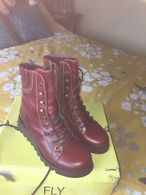 £75 • Buy Red Leather Biker Boots Size 6 By FLY LONDON, Brand New Never Worn