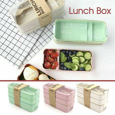 AU11.49 • Buy Bento 3-Layer Box Students Lunch Box Eco-Friendly Leakproof 900ml Food Container