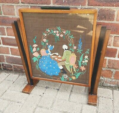 £98 • Buy Art Deco Odeon Style Fire Screen Crinoline Lady & Gent Afternoon Tea Embroidery
