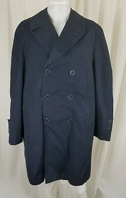 $ CDN58.47 • Buy Vintage Koratron Double Breasted Deep Pile Fur Lined Trench Coat Mens M L Navy