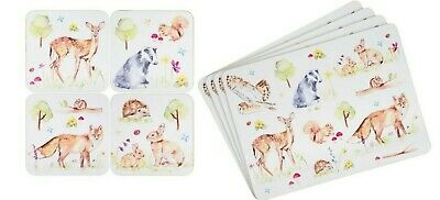 £8.79 • Buy Woodland Wildlife Set Of 4 Placemats Or Matching Coasters Squirrel Deer Fox Owl