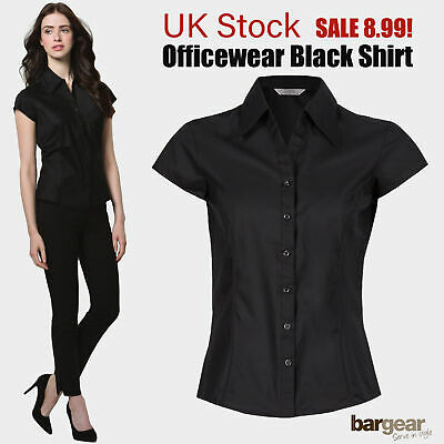 £8.99 • Buy Women Ladies Shirt Blouse Short Cap Sleeve Office Wear Workwear Fitted Tailored