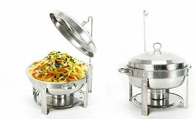 £44.95 • Buy Round BUFFET FOOD WARMER STAINLESS STEEL DOUBLE FOOD PANS CHAFING DISH FUEL SETS