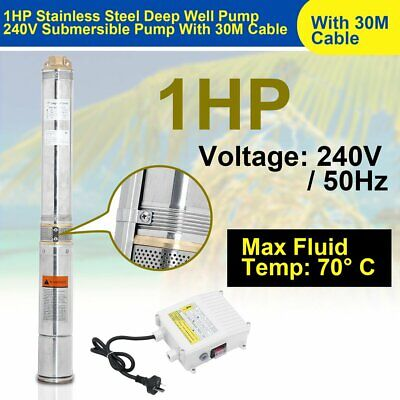 AU154.99 • Buy 1HP Submersible Bore Water Pump Well Irrigation Stainless Steel 4500L/h 750W AUS
