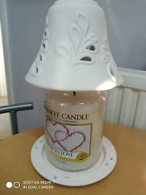 £23 • Buy White Matt Leaf Shade & Plate Set With Yankee Candle 'snow In Love' Candle