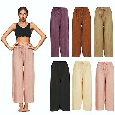 £5.95 • Buy Ladies Womens 3/4 Cropped Culottes Crops Trousers Pedal Shorts Elasticated NEW