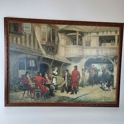 £249 • Buy E Larroque Signed Vintage 20th Century Oil On Board Hunting Party Outide Inn