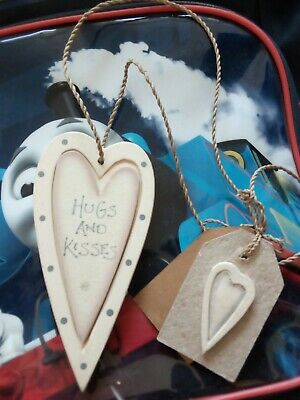 £2.50 • Buy East Of India Wooden Hugs And Kisses Heart & Tag Handmade