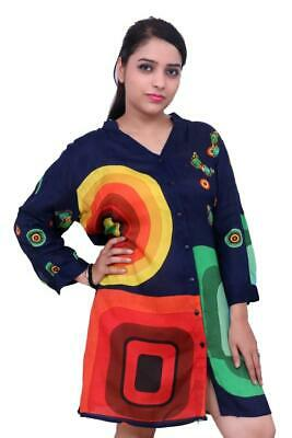 £6.99 • Buy New Women Long Sleeve Front Button Summer 100% Rayon Top/Blouse UK