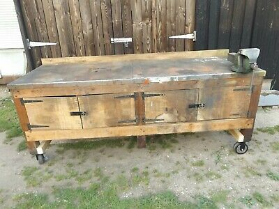 £240 • Buy Vintage Work Bench With Record No 6 Vice And Cupboards Heavy Duty Barn Find