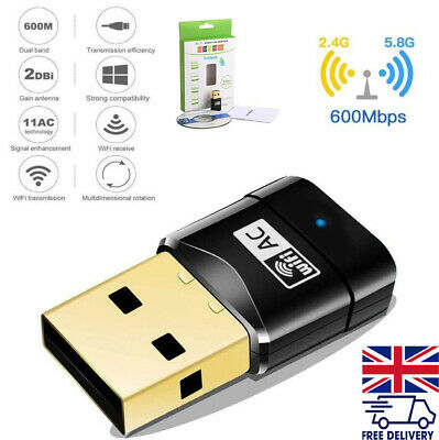 £5.66 • Buy 600 Mbps WiFi Dongle Wireless USB Dual Band Adapter 802.11 AC 2.4-5ghz Laptop PC