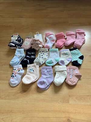 £12 • Buy Mixed Bundle Of Baby Girls Socks Aged 0-12months (22 Pairs)