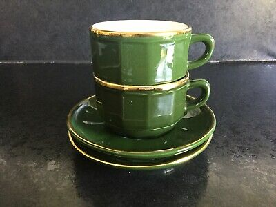£10.99 • Buy Two French Apilco Bistro Coffee Cups And Saucers - Yves Deshoulieres