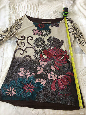 £7.50 • Buy Desigual Long Sleeved Beaded T Shirt Top Floral  Size XL Large Extra Long