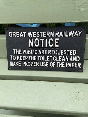 £45 • Buy Great Western Railway (GWR) Metal Sign Relating To The Use Of The Public Toilets