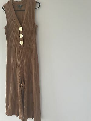 £8 • Buy Primark Brown Knitted Gold Button Detail Midi Jumpsuit - Flared Size 10