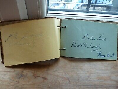 £10 • Buy Old 1940's Autograph Book With 19 Signatures, Music, Theatre, Actors, Good Names