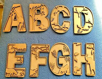 £1.99 • Buy   Wooden MDF 3D Wild Animal  Safari  3mm Alphabet Letters Blank Signs Home