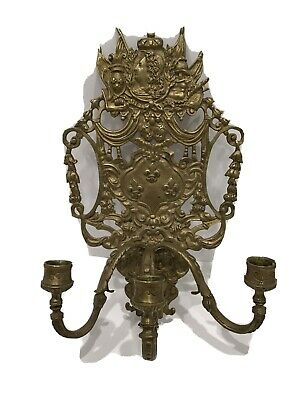 £138.06 • Buy Antique French 3 Branch Candle Holder Sconce Brass Bronze King Louis XIV 19thc