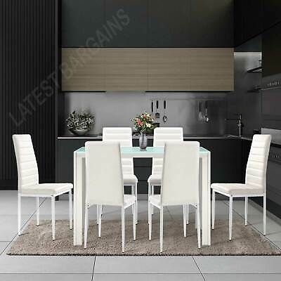 AU316.90 • Buy 7 Piece Dining Table And Chairs Set Glass Top Dinner Kitchen Furniture Modern