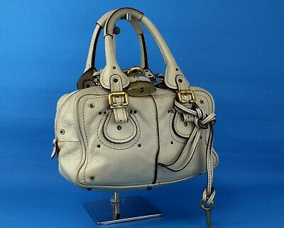 £143.49 • Buy Authentic Chloe Ivory White Leather Small Hand Bag Purse Vintage Good Used