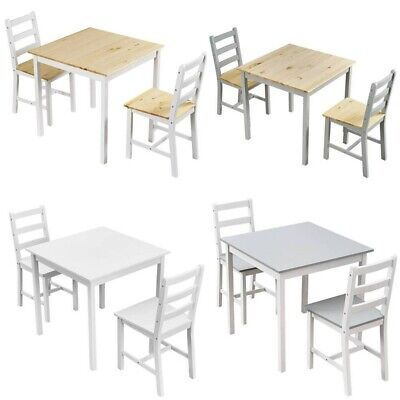 £49.99 • Buy Compact Solid Wood Dining Table And 2 Chairs Set Kitchen Room Home Furniture