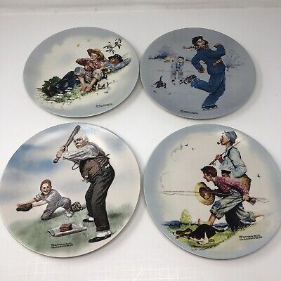$ CDN31.38 • Buy NORMAN ROCKWELL Lot Of 4 Knowles Plates 2004  04 05 06Heritage Collection Summer