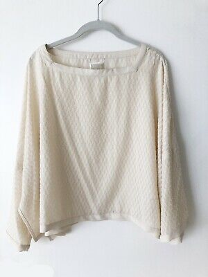 $29 • Buy Wynne Layers Ivory Textured Boxy Poncho Style Blouse Size Slouchy Lagenlook  M