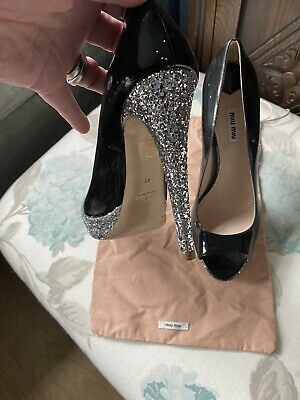 £34.99 • Buy Miu Miu Black Patent High Heel Shoes - Size 8 / 41 - Worn Only Once Very Briefly