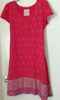 £10.59 • Buy Fat Face Ladies Dress 16 Red With Small Bunches Of Flowers