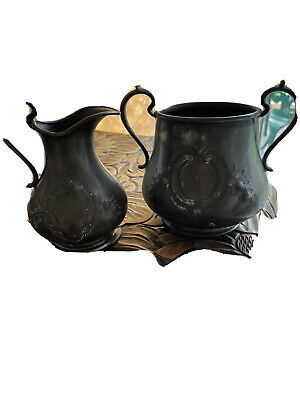 £5 • Buy Old Pewter Jug And Matching Pot