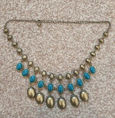 £4.99 • Buy Grecian Style Chunky Teal Green And Gold Tone Beaded Necklace