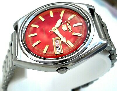 $ CDN53.59 • Buy 1970's  Vintage Japan  SEIKO 5. Automatic RED WINE Classic Day Date Men's Watch