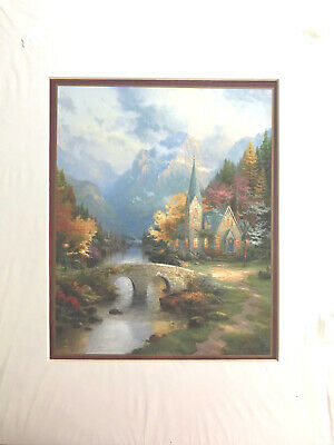 £14.15 • Buy Thomas Kinkade The Mountain Chapel Matted Print 11x14 With Cert. Of Authenticity