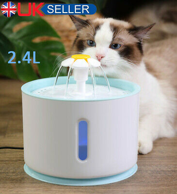 £13.59 • Buy Electric Cat Dog Automatic Water Fountain Dispenser Pet Drinking Bowl +LED Light