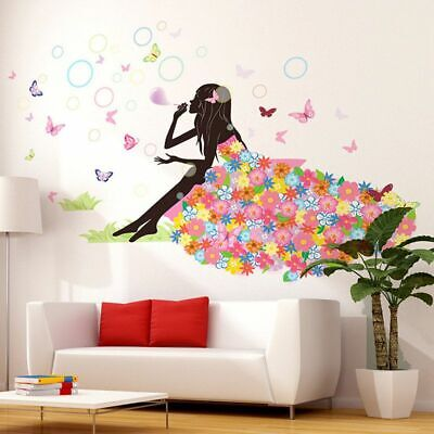 £7.09 • Buy Angel Flower Girl Butterfly Flower Fairy Wall Stickers For Room Decoration UK