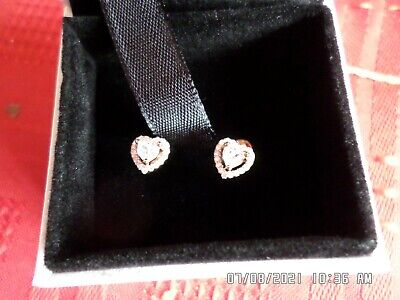 £5.70 • Buy Pandora Little Heart Shaped Rose Gold Plated Sterling Silver Earrings New/boxed