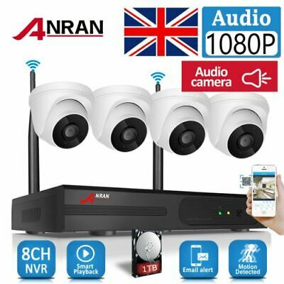 £199.99 • Buy ANRAN Wireless CCTV System Security Camera Home 1080P Audio 8CH Indoor 1TB HDD