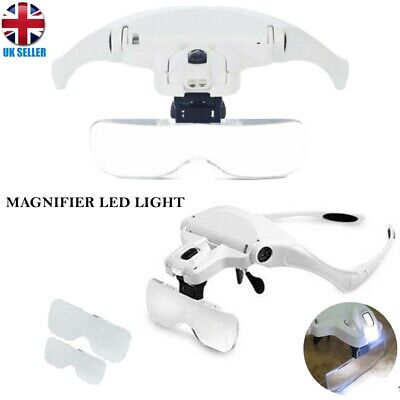£11.99 • Buy Magnifying Glass Headset 2 LED Light Head Headband Magnifier 5 Lens With Box UK