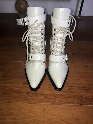 £100 • Buy Chloe White Leather Strappy Ankle Boots Size 36/3